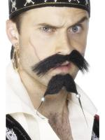 Pirate Tash &amp; Beard Set Black with Beads Fancy Dress