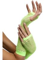 Fishnet Gloves Neon Green Long 80s Fancy Dress