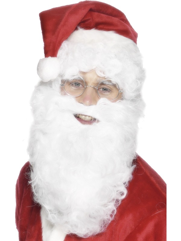 Economy White Adult Santa Beard Fancy Dress