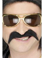 Hippy / Hippie Tash / Moustache Black 70s Fancy Dress
