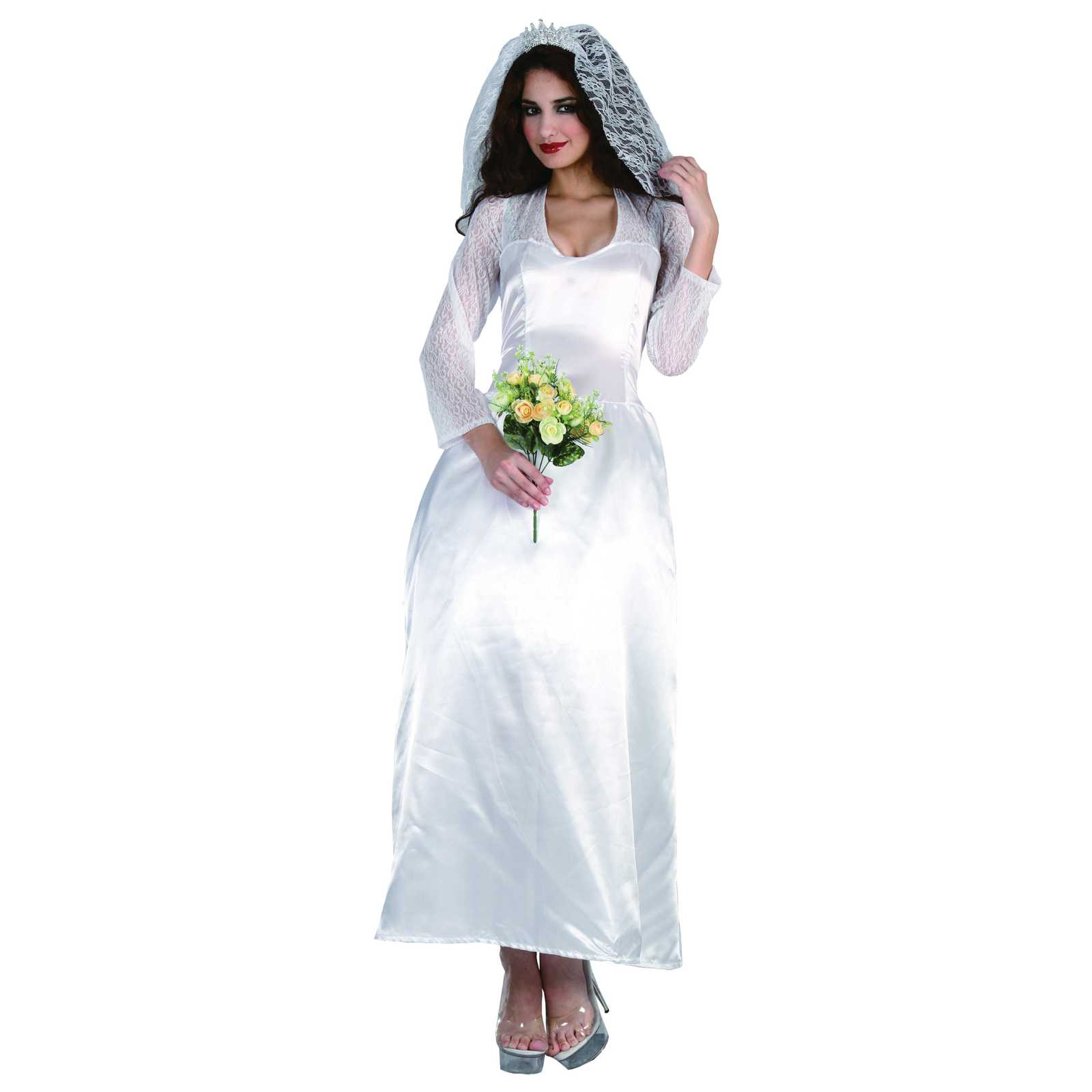 Royal Family Bride Costume Ladies Marriage Womens Party Fancy Dress Outfit