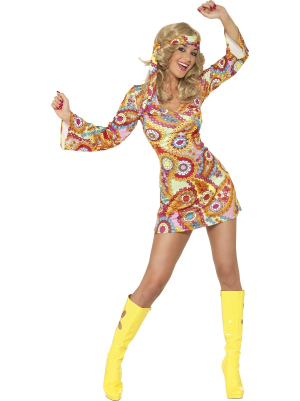 Party props womens 60s 70s hippy hippie costume fancy dress small