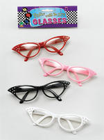 Glasses 50s Female Style Pink Rock'N'Roll Fancy Dress