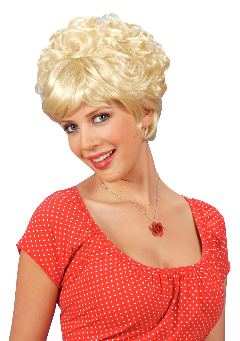 perm wig fancy dress party props tiffany blonde 80s short perm wig ...