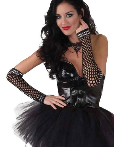 Black Punk Studded Fishnet Gloves 1970s 1980s Goth Fancy Dress Party Accessory