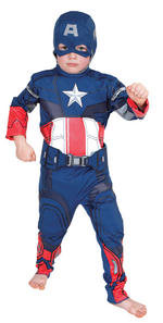 Captain America Muscle Chest Costume Boys Fancy Dress Kids Child Avengers