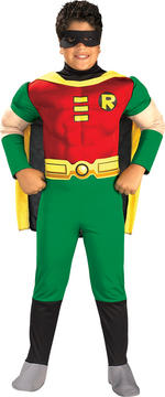 Robin Muscle Chest Costume Boys Fancy Dress Kids Child Batman Licensed