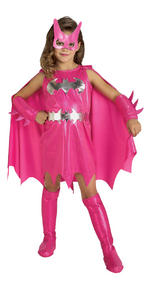 Pink Batgirl Costume Girls Fancy Dress Kids Child Batman Licensed