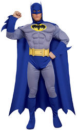 Mens Deluxe The Batman Brave and Bold Muscle Chest Costume Fancy Dress