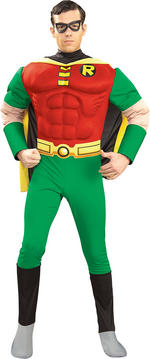 Mens Teen Titans Deluxe Muscle Chest Robin Costume Large