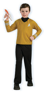 Kids Star Trek Captain Kirk Deluxe Costume Gold Shirt Medium