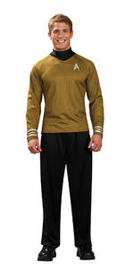 Mens Star Trek Captain Kirk Gold Shirt Small