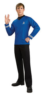 Mens Star Trek Spock Deluxe Blue Shirt Extra Large