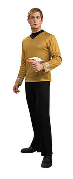 Mens Star Trek Captain Kirk Deluxe Gold Shirt Small