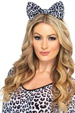 White Leopard Bow on Headband