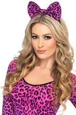 Pink Leopard Bow on Headband