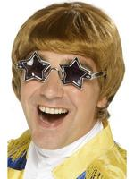 70s Star Man Wig &amp; Glasses Set Fancy Dress Mens