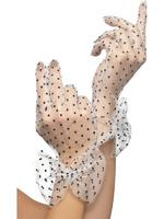 80s Desperately Dotty Netted Gloves Adult Smiffys Fancy Dress