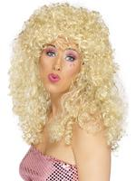 Boogie Babe Wig, Blonde, Long, Curly Fancy Dress Ladies