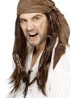 Buccaneer Pirate Wig, Brown, Straight With Braids, With Bandana Fancy Dress Mens
