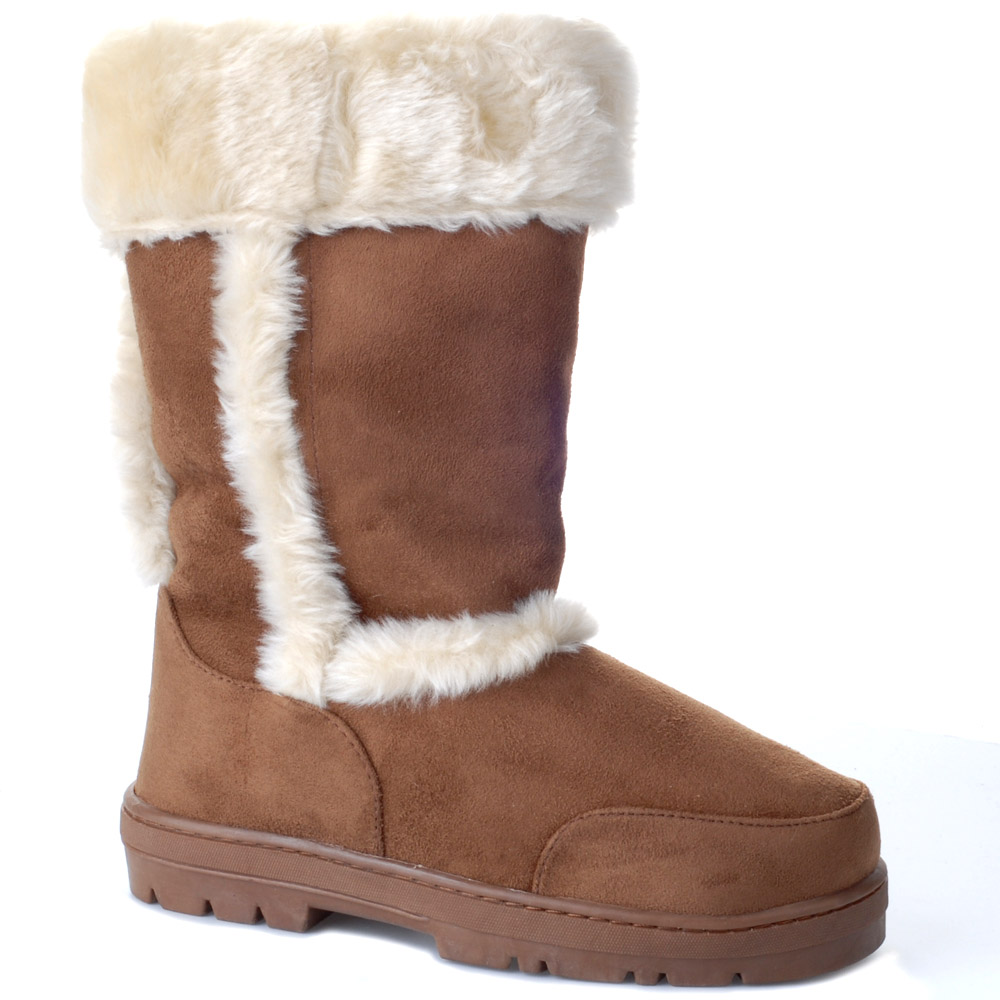 brown snow ankle boots fur sizes 3 8 ebay