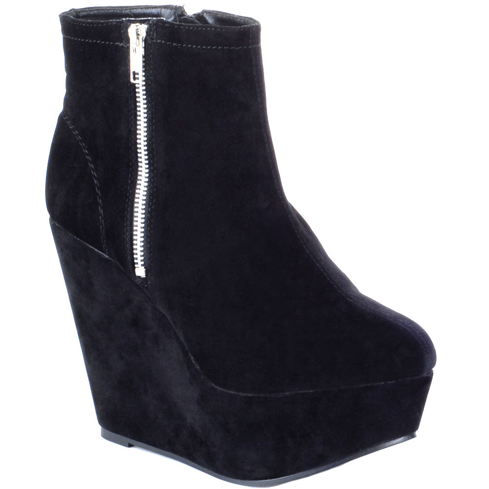 womens wedge high heel side zip platform ankle boots ebay