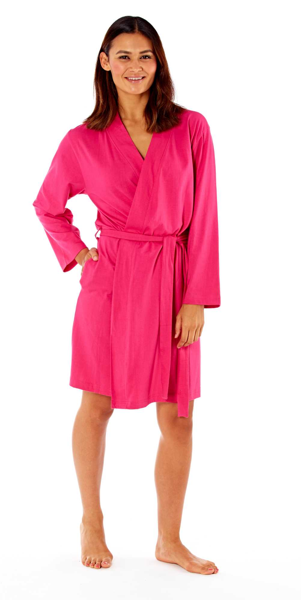 Ladies Kimono Wrap Jersey Cotton Dressing Gown Summer Bath ...