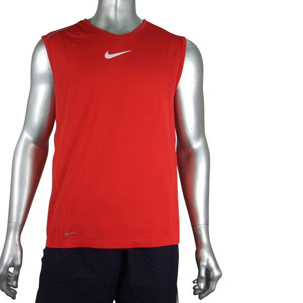 Mens red nike dri dry fit running vest t shirt top size ebay for Best athletic dress shirts