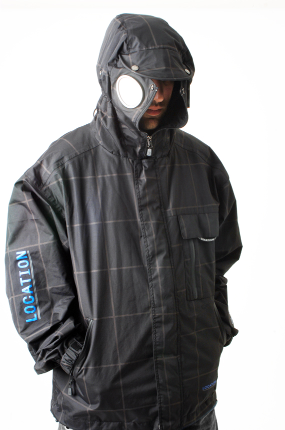 Mens Location Goggle Recco iPod Hooded Coat Rain Jacket Enlarged Preview