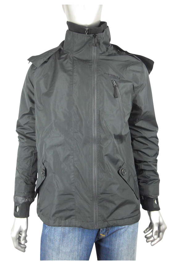 Mens Location Legion Black Rain Hooded Jacket Coat Enlarged Preview