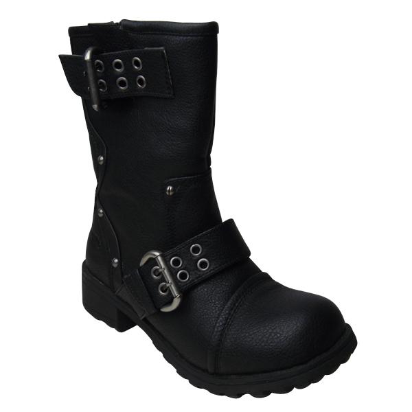 new rocket black biker rumble pu leather boots