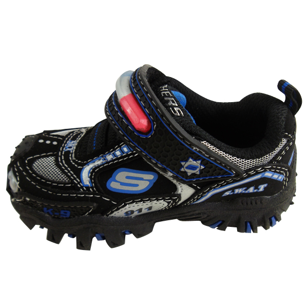Baby Boys Skechers Hot Lights Trainers Shoes Black Leather