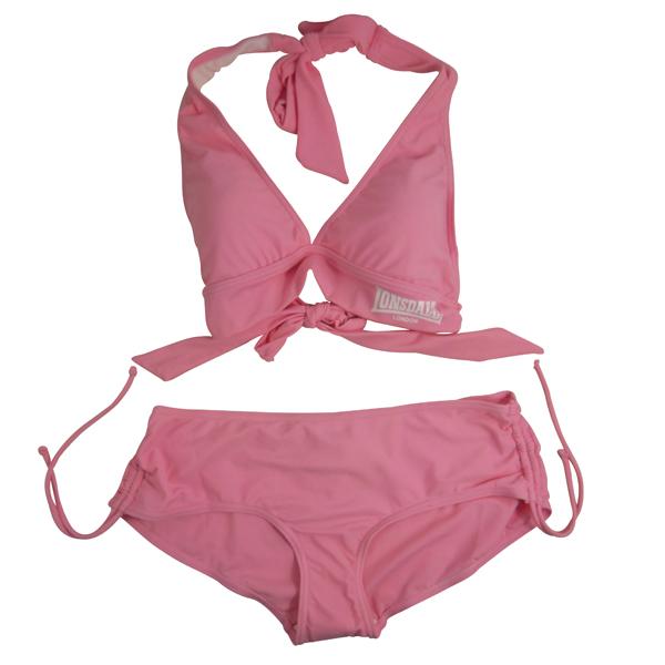 Ladies-Girls-Lonsdale-Pink-Bikini-Swimsuit-Halter-Summer-Sexy-Swim-Size-UK-8-14