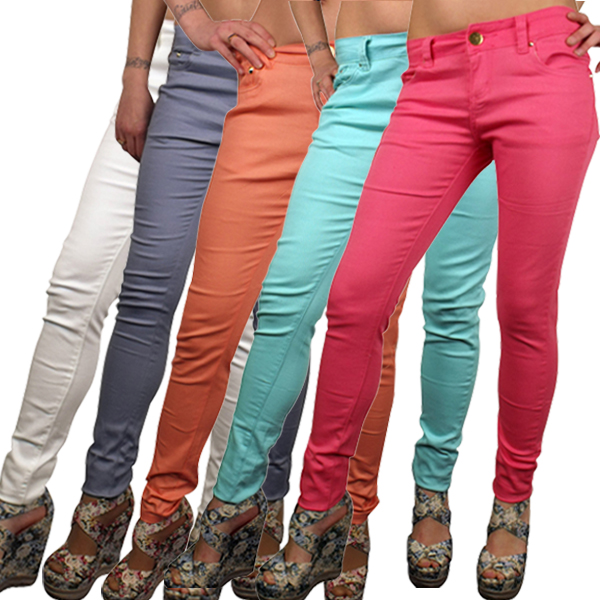 Ladies Sexy Coloured Stretch Trousers Pants Skinny Relax Fit Jeans ...