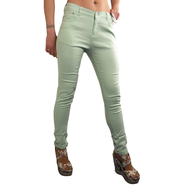 damen sexy bunt stretch hose skinny lockere passform jeans gekrempelt gr e ebay. Black Bedroom Furniture Sets. Home Design Ideas