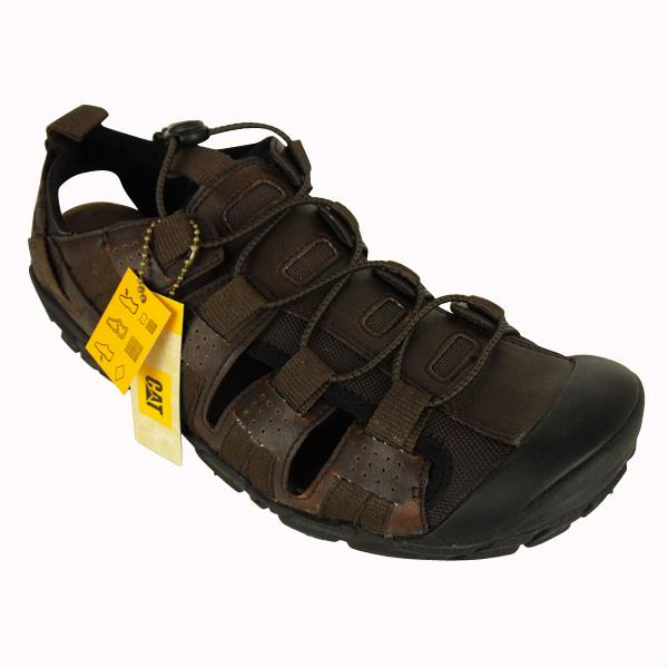 96e7cfa54 Image is loading Mens-Caterpillar-CAT-Brown-Leather-Sandal-Walking-Hiking-