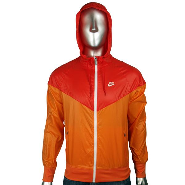 Nike Air Jacket for Men Orange White Windrunner Windbreaker Hooded ...