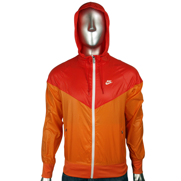 Nike Air Jacket for Men Orange White Windrunner Windbreaker Hooded