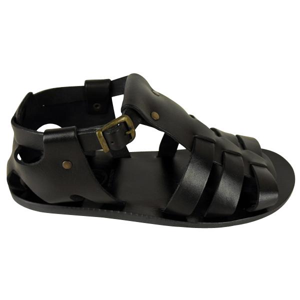 Mens-H-By-Hudson-Pontius-Black-Leather-Roman-Sandal-Smart-Sandals-Size-UK-6-12