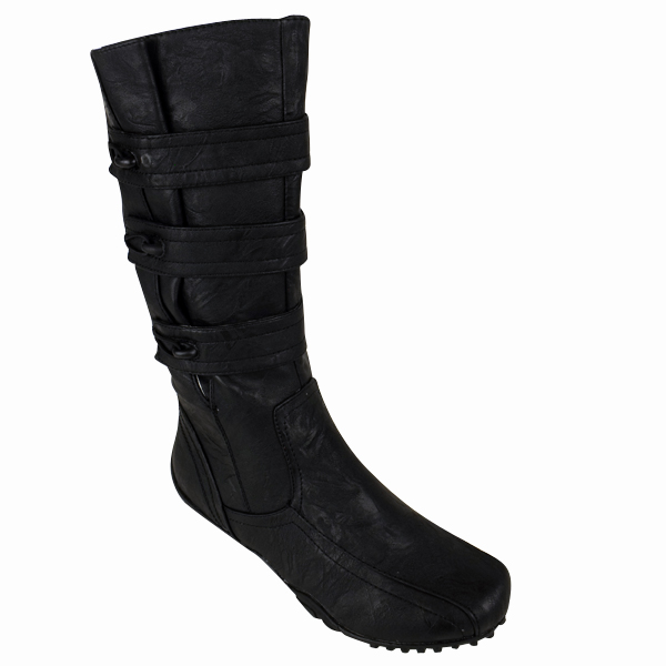 womens black faux leather biker boots wide fit