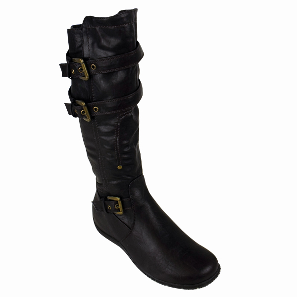 womens brown faux leather flat biker boots zip up