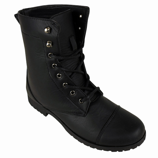 Cool Buy Womens Black Military Style Army Combat Lace Up Ankle Worker Boots