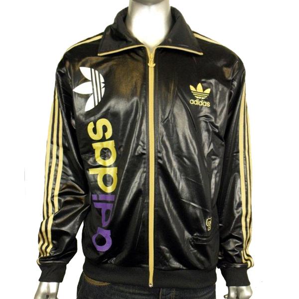 Mens Adidas Originals Chile 62 Linear TT Black Gold Track Suit Top ... b511af35fbfd7