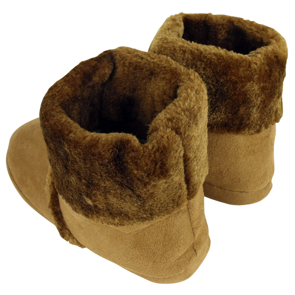 Mens Brown Ankle Boot Furry Slipper Bootee Faux Fur Warm Slippers Size