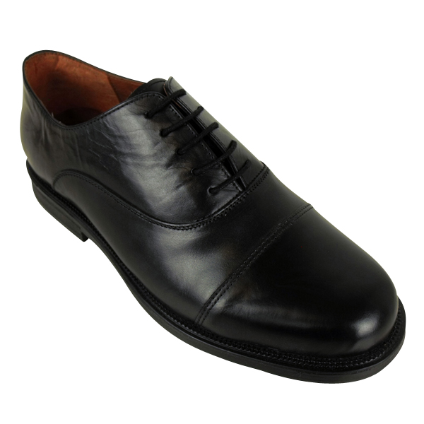 mens scimitar black leather oxford capped formal shoe