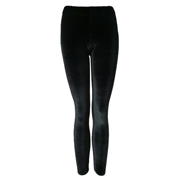 Ladies Sexy Black Velvet Leggings Womens Long Stretch Soft Punk Rock Size UK