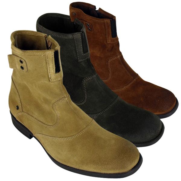 mens leather base london steel biker ankle boot burnished suede boots size 7 12 ebay. Black Bedroom Furniture Sets. Home Design Ideas