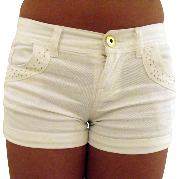 Ladies Sexy Denim Hot Pants Diamante Bling Shorts Red Black White ...