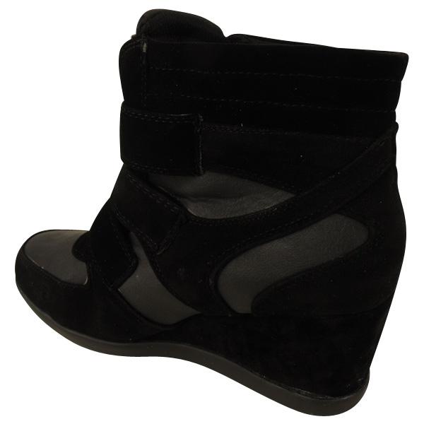 womens wedge trainer boot black hi top trainers wedges