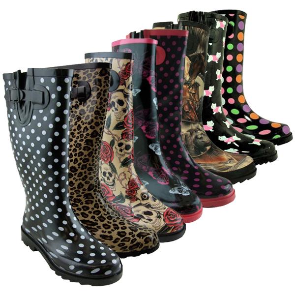 Pour Femmes Bottes EN Caoutchouc Imprimées Hiver Neige Pluie UK 3 4 5